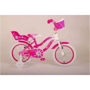 Volare Belles filles de vélo pour enfants 16 pouces rose blanc deux freins à main 95% assemblés
