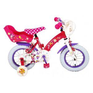 Vélo pour enfants Disney Minnie Bow-Tique - Filles - 12 pouces - Rose blanc - 2 freins à main