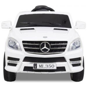 Mercedes voiture pour enfant ML350 blanche vue de face phares des portiers rétroviseurs latéraux