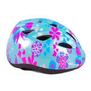 Volare casque de vélo enfant bleu rose fleurs XS 47-51 cm
