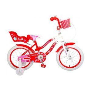 Volare Belles filles de vélo pour enfants 16 pouces rouge blanc 95% assemblés