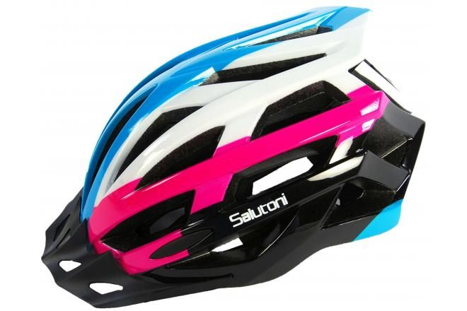 Salutoni casque de vélo femme - bleu blanc rose - 58-61 cm