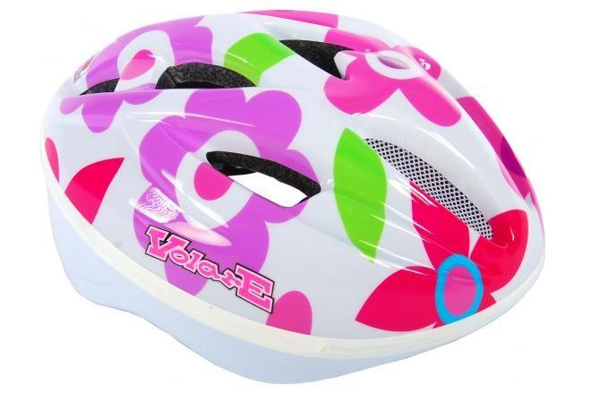 Volare Deluxe casque de vélo fleurs blanches 51-55 cm