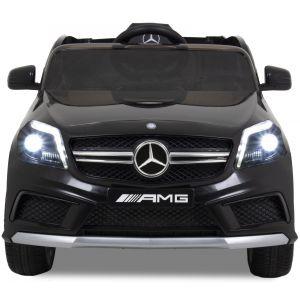 Mercedes pour enfant A45 noire vue de face logo rétroviseurs latéraux phares siège