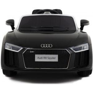 Audi pour enfant R8 noir vue de face logo plaque d'immatriculation phares rétroviseurs latéraux