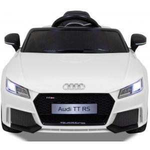 Audi pour enfant TT RS blanche vue de face logo pare-chocs phares