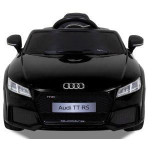 Audi pour enfant TT RS noire vue de face logo pare-chocs phares siège
