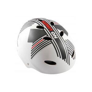 Casque de vélo Volare - Casque de skate - No Limits - Blanc Gris Rouge