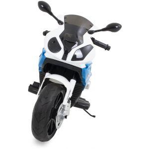 Moto BMW pour enfant S1000 RR bleue vue de face rétroviseurs latéraux pneus