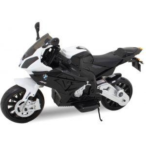 Moto BMW pour enfant S1000 RR noire vue de côté phares pneus siège