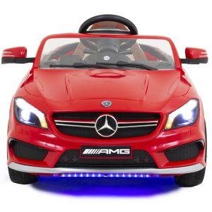 Mercedes pour enfant AMG CLA45 rouge vue de face phares pare-chocs logo rétroviseurs latéraux