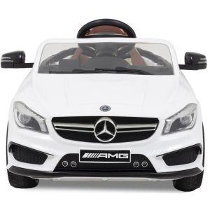 Mercedes pour enfant AMG CLA 45 blanche vue de face phares pare-chocs logo rétroviseurs latéraux