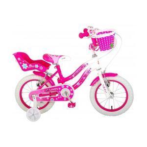 Volare Belle bicyclette pour enfants filles 14 pouces rose blanc deux freins à main 95% assemblés
