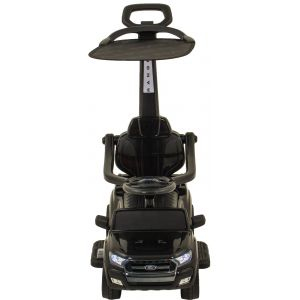 Ford Ranger trotteur électrique enfant noir + pare-soleil - noir roues volant accélérateur vue de face