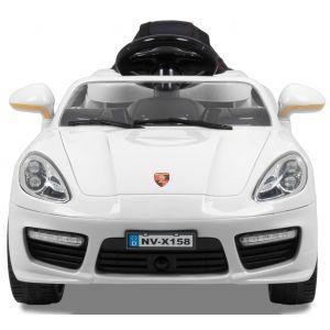 Speedster OC pour enfant blanc 12v vue de face logo phares siège plaque d'immatriculation
