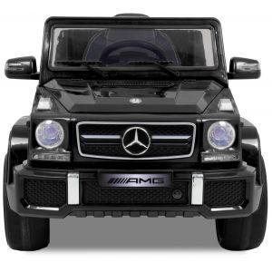 Mercedes voiture pour enfant cabriolet G63 AMG noir vue de face phares des portiers rétroviseurs latéraux