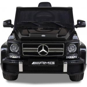 Mercedes pour enfant AMG G63 noire vue de face phares pare-chocs logo rétroviseurs latéraux