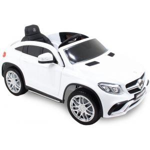 Mercedes pour enfant GLE63 coupé - blanc roues volant accélérateur vue de côté