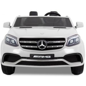 Mercedes GLS AMG pour enfant blanche vue de face phares pare-chocs logo rétroviseurs latéraux