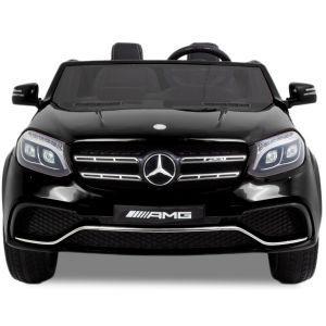 Mercedes pour enfant GLS AMG noir vue de face logo phares rétroviseurs latéraux