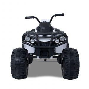 Quad électrique pour enfant blanc vue de face pneus phares guidon