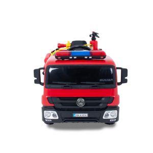 Camion de pompier électrique pour enfant vue de côté, roues volant accélérateur vue de face