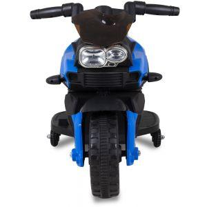 Moto mini pour enfant 6V bleue vue de face phares volant pneus