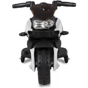 Moto mini pour enfant 6V blanche vue de face rétroviseurs latéraux pneus