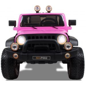 Jeep style pour enfant rose - 2 places roues volant accélérateur vue de face