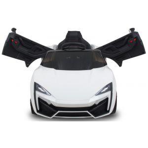 """""""Spider"""" pour enfant - blanc roues volant accélérateur vue de face"""
