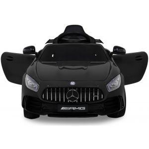 mercedes pour enfant AMG GTR noir vue de face logo phares pare-chocs rétroviseurs latéraux