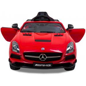 Mercedes pour enfant SLS rouge vue de face logo phares des portes