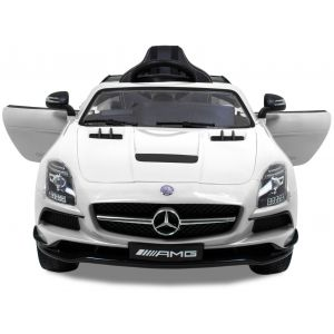 Mercedes pour enfant SLS blanche vue de face phares pare-chocs logo rétroviseurs latéraux