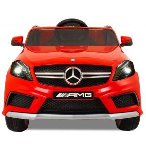 Mercedes pour enfant AMG A45 rouge vue de face logo phares pare-chocs rétroviseurs latéraux