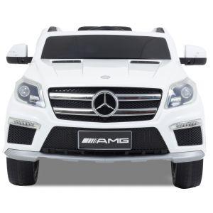 Mercedes pour enfant AMG GL63 blanche vue de face phares pare-chocs logo rétroviseurs latéraux