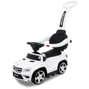 Trotteur pour enfant Mercedes GL63 blanc vue de côté phares jantes pneus siège volant