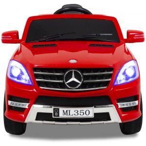 Mercedes pour enfant ML350 rouge vue de face phares pare-chocs logo rétroviseurs latéraux