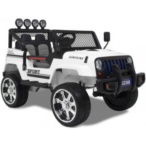 Jeep 4x4 pour enfant Monster blanc roues volant accélérateur vue de côté