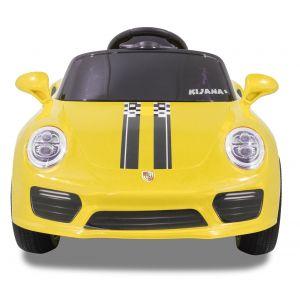 Speedy pour enfant Porsche style jaune roues volant accélérateur vue de face