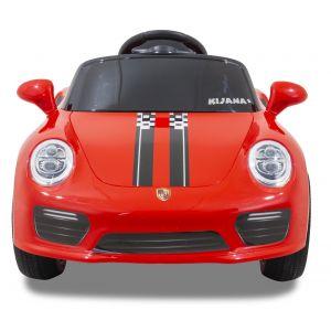 Speedy pour enfant Porsche style rouge roues volant accélérateur vue de face