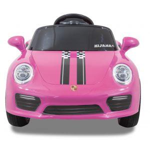 Speedy pour enfant Porsche style rose roues volant accélérateur vue de face