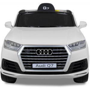 Audi pour enfant Q7 blanc vue de face logo rétroviseurs latéraux phares pare-chocs