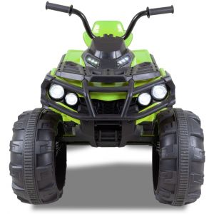 Quad électrique pour enfant vert roues vue de face