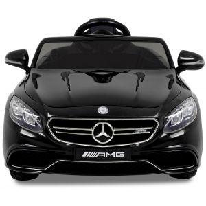 Mercedes pour enfant S63 noir vue de face phares des portiers rétroviseurs latéraux logo