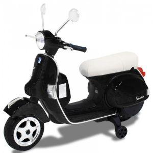 Scooter pour enfant Vespa noir vue de côté phares pneus siège