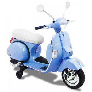 Scooter électrique pour enfant Vespa bleu vue de côté, roues volant accélérateur vue de côté