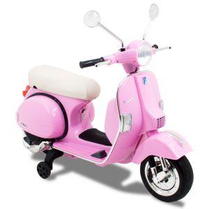 Scooter pour enfant Vespa rose vue de côté phares pneus siège phares