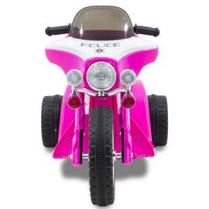 Moto de police électrique pour enfant 'Wheely' rose roues volant accélérateur vue de face