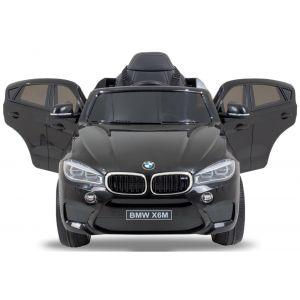 BMW voiture pour enfant X6 noire vue de face plaque d'immatriculation phares pare-chocs